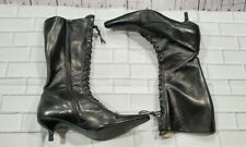 FORNARINA BOOTS ITALY SUPER POINTY TOE BLACK LEATHER LACE UP WOMENS SIZE 38 US 8