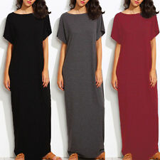 Women Oversized Summer Loose Short Sleeves Casual Maxi Long Dress Plus Size Tops