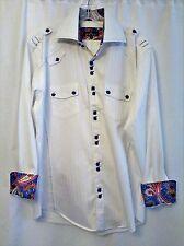 Bertigo Men's Shirt Black Label White Paisley Flip Cuff Top Stitching Size 4 (L)