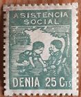 Denia Spain Spanish Civil War Charity Stamp - 25c Green - Unused