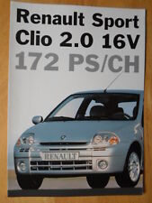 RENAULT CLIO SPORT 2.0 16V 172 rare 1999 Swiss Mkt Sales Brochure