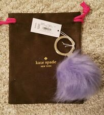 $59 Kate Spade Faux Fur Purple Pom Pom Keychain/ Key Fob - NWT Dust Bag Incl