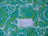 41YD SCALAMANDRE RESIST PRINT BIRD FLOWER TOILE LINEN POOL GREEN BLUE MSRP$198