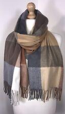 Il designer LULU ispirato PASHMINA Cashmere Sciarpa leggera in nero e bianco