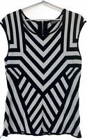 Jacqui E Womens Black/White Striped Sleeveless Knit Top with Back Zipper Size M