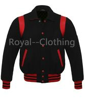 Varsity Letterman Bomber Baseball Jacket Black Wool Red Leather Stripes
