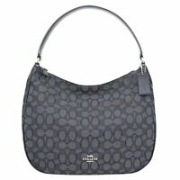 Coach Outline Signature Canvas Hobo Jacquard Black Smoke F29959 SVDK6 NEW NWT