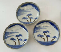 """Vintage 6"""" D Japanese Footed Bowl Blue & White Luster Paint Set Of 3"""