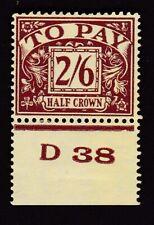 GB KGVI Postage Due 1938 2s6d D38 (P) control single SG D34 MINT v. light hinge