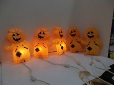 HALLOWEEN LIGHT UP PLASTIC BLOW MOLD JACK O LANTERNS SET OF 5 PUMPKIN