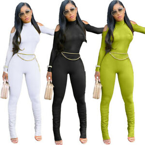 Fashion Women Mock Neck Long Sleeve Cold Shoulder Solid Bodycon Club Jumpsuit