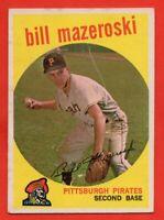 1959 Topps #415 Bill Mazeroski EX-EX+ WRINKLE HOF Pittsburgh Pirates FREE SHIP