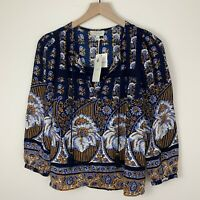 Lucky Brand Peasant Tassel Top Navy Blue Floral Lace Crochet Women's Size XS