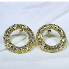 18K Yellow Gold Filled Clear CZ Women Fashion Jewelry Circle Stud Earrings E4753