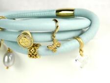 "ENDLESS Light Blue Leather Triple Wrap Vermeil Sterling 8 Charm Bracelet ~6.5"""