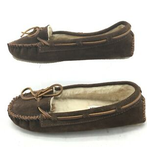 Minnetonka Cally Moccasin Slipper Womens 8 Casual Faux Fur Leather Brown 4012