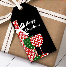 Wine Bottle & Glasses Christmas Gift Tags (Present Favor Labels)
