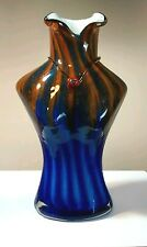 Female Bust Art Glass Bud Vase Blue Orange