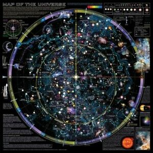 Map Of The Universe Poster Displaying Cosmos Nebulas Stars and Precession Cycle