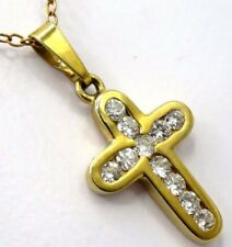 Cruz Brillante 0.36 Ct Colgante Oro 585 Oro Gold