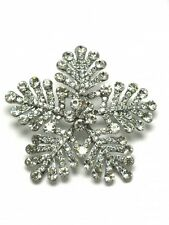 Silver Sparkly Large Snowflake Winter Christmas Crystal Brooch