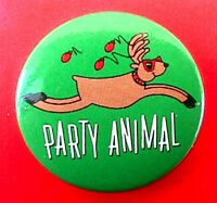 Hallmark BUTTON PIN Christmas Vintage REINDEER PARTY ANIMAL Holiday PINBACK