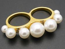 $24 Spring Street Double Finger Faux Pearl Ring Goldtone Metal Sizes 6.5 & 7.5