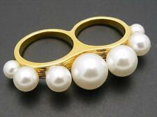 $28 Baublebar Double Finger Faux Pearl Ring Goldtone Metal Sizes 6.5 & 7.5