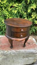 Beautiful Vintage Apprentice Piece Wooden Round Small Table With Draw *