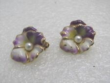 """Vintage Enameled Pansy Brooch Set, 2 Scatter Pins, 3/4"""" across, 1950's-1960's"""