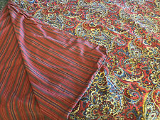 Ralph Lauren King Ruby Red Paisley & Striped Reversible Duvet Cover