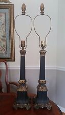 """Pair Empire Black Column Table Lamps 3-Way Switch 34"""""""
