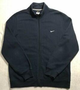 Nike Full Zip Front Sweatshirt Mens Large Blue Mock Neck Long Sleeve Sweater EUC