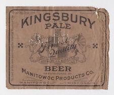 Kingsbury Pale Irtp U-permit Beer Label Manitowoc Wi