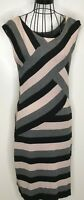 "TED BAKER ""CALIGO"" BLACK GREY BEIGE STRIPED KNIT JUMPER DRESS SIZE 4 UK 14"