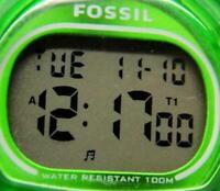 Fossil Digital Green Timer WR 100M Date  Watch Quartz New Battery