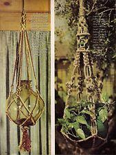 Bottle Plant Holder Pattern - BOOK ONLY #H224 Easy to Make Macrame Pot Hangers