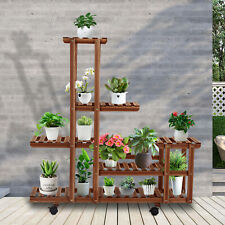 5 Tier Wooden Plant Stand Movable Flower Rack Display Shelf with Wheels Outdoor