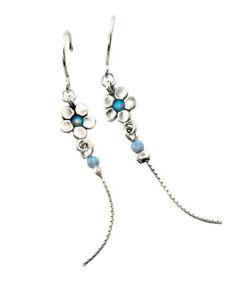 New Sterling Silver SHABLOOL threader Blue Opal Earrings