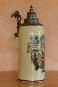 Alter antiker Bierkrug Maßkrug 2 L mit Zinndeckel Hirschau