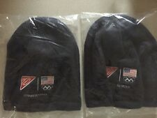 Lot 2 USA Olympics Nabisco Knit Hat Beanie Dark Blue