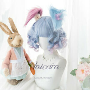 Lolita Sweet Girls Blue Gradient Pink Hair Unicorn Curly Cosplay Wigs 2*Buns