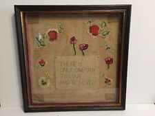 Needlework Shadow Box Beaded Sampler Framed Original Antique