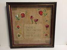 Antique Original Needlework Sampler Shadow Box One Joy Love Beaded Framed