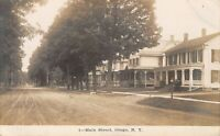 Otego New York~Main Street Homes~Wide Dirt Road~HJ Brown & Bessie Here~1908 RPPC