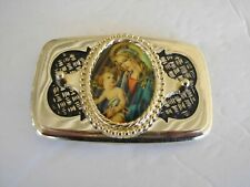 Belt Buckle Mary Child Madonna Religious Christianity Gold Tone Vintage Nos