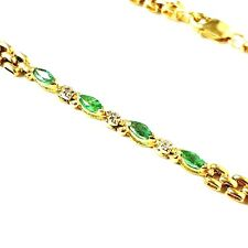 Gold Emerald Bracelet 9ct yellow gold with Diamond 7.9g 7.5 Inches Hallmarked