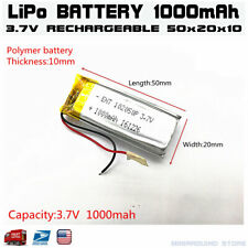3.7V 1000mAh 102050 lithium polymer lipo Rechargeable battery