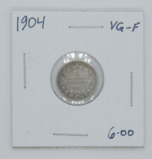 1904 Canadian silver coin 5 cents VG F condition