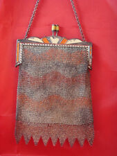 ROARING 1920's  ART DECO WHITING DAVIS MESH EVENING PURSE BAG WITH ENAMEL